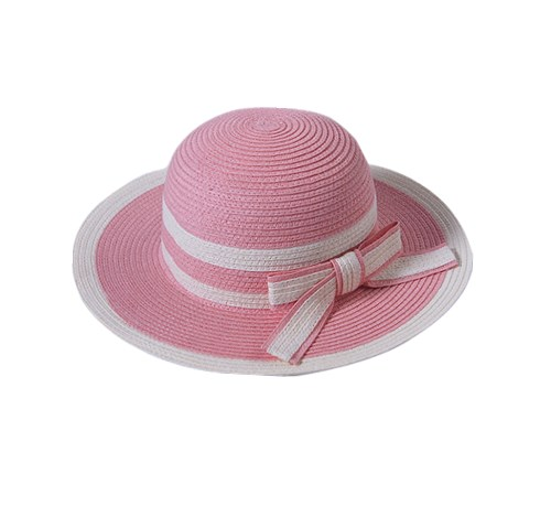 pink white lovely kids paper straw hat