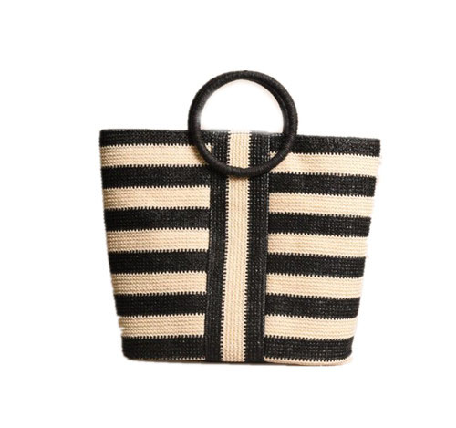 stripped paper beach bag